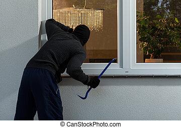 robo fractura, casa, ladrón, antes