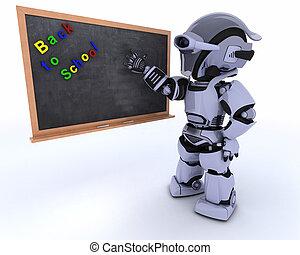 robot, à, école, panneau craie