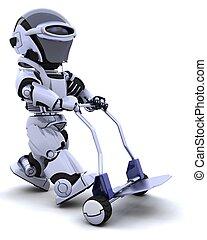robot, à, boîte, charrette