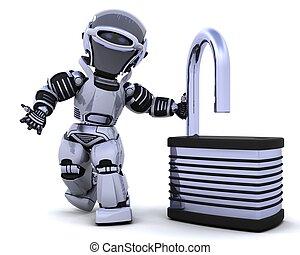 robot, à, cadenas