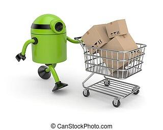 robot, à, chariot, remplissage, boîtes