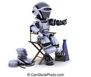robot, à, porte voix, et, directeurs président
