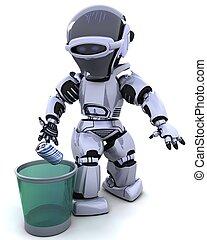 robot, à, poubelle
