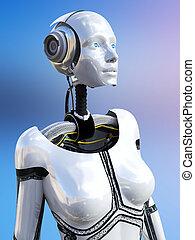 robot., übertragung, android, weibliche , 3d