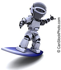 Robot - 3D render of a robot surfing