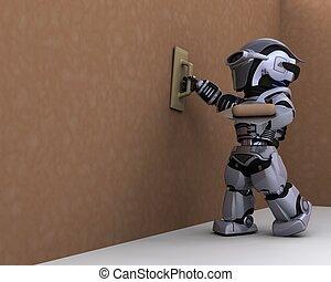 robot, aannemer, gipsen, een, drywall