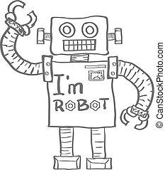 robot, aislado, fondo., vector, dibujado, blanco, mano