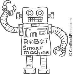robot, aislado, vector, plano de fondo, dibujado, blanco, mano