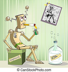 Robot-alcoholic with bottle and a photo on the wall, illustration, caricature