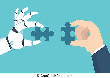 Robot and Businessman Hand holding puzzle. Partnership with a robot concept. Vector illustration in flat style