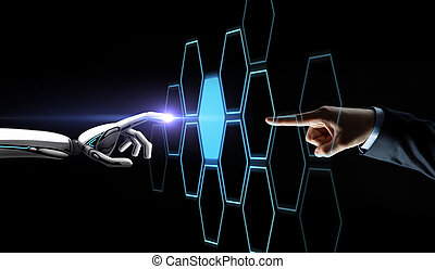 robot and human hand touching network hologram