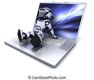 robot and laptop - 3D Render of a robot relaxing on a laptop