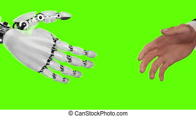 Robot and Man Shaking Hands