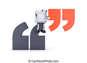Robot and Quotation Mark. 3d illustration