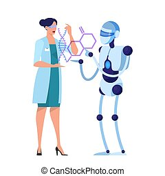 Robot and scientist work together. Idea of artificial intelligence
