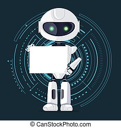 Robot and Sheet of Paper, Vector Illustration