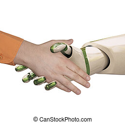 shake hands - Robot and the man shake hands. Isolated on...