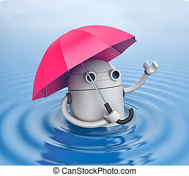 Robot and umbrella in water. 3d illustration