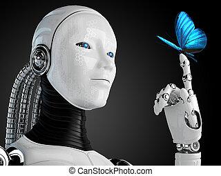 robot, androïde, femme, à, papillon