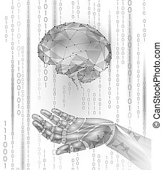 Robot android hand hold human brain. Low poly polygonal particle point line geometric render. Mental education creative idea future mind technology concept white binary code vector illustration
