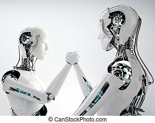 robot android men in team