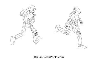 Robot android run cycle. Isometric front and back view.