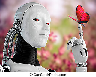 robot android woman with butterfly in nature