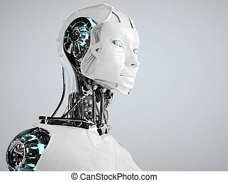 robot android women isolated  - robot android women isolated