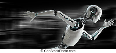 robot, androide, correndo, velocità, concetto