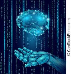 robot, androide, mano, presa, umano, brain., basso, poly, polygonal, particella, punto, linea, geometrico, render., mentale, educazione, creativo, idea, futuro, mente, tecnologia, concetto, blu, codice binario, vettore, illustrazione