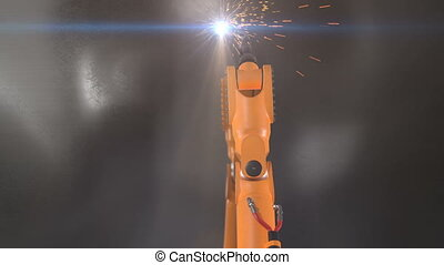 Robot Arm Cutting Steel Plate Process with Sparks and Flare....