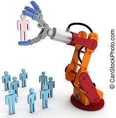 Robot arm hand choose best person