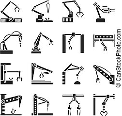 Robot arm icons. Industrial manufacturing assembly robotics line vector illustration