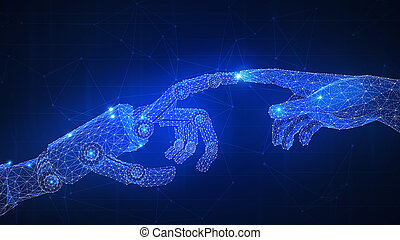 Robot arm is touching human hand.