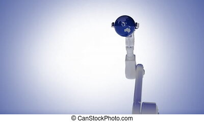 Robot arm picking up a globe