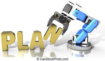 Robot arm technology idea word concept
