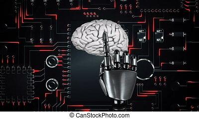 Robot arm touches rotating human brain