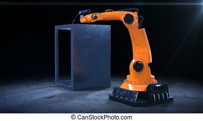 Robot Arm Welding Process at Workshop. High Precision Modern...