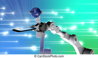 Robot arms holding a phone and a globe