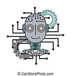 robot artificial intelligence gears technology futuristic innovation