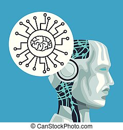 Robot artificial intelligence icon vector illustration graphic design