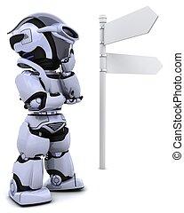 robot at a signpost - 3D render of a robot at a signpost