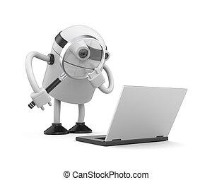 robot., avancé, service, 3d
