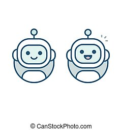 Robot avatar icon - Cute happy robot face avatar. Chat bot...