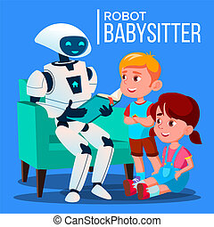 Robot Babysitter Reading A Book To Child On The Sofa Vector. Isolated Illustration