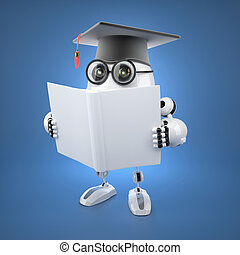 Robot bachelor with blank book.