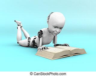 robot, book., interpretación, niño, lectura, 3d