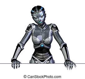robot, bord, penchant