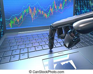 robot, bourse, commerce