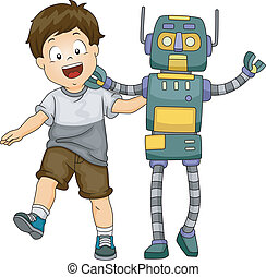 Robot Boy - Illustration of a Little Kid Hanging Around with...
